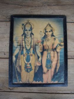 Vintage Print Depicting Laxshmi and Vishnu